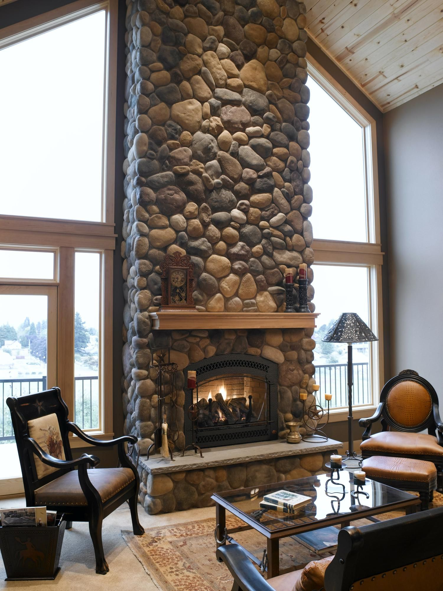 River rock fireplace pictures - Yakima River Rock Fireplace