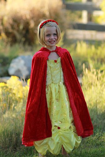 Belle of the Ball Beauty Dress Up Costume Gift Ensemble Set-Belle's beautiful yellow ballgown, is perfectly matched in this dress up set with our Red Cloak, Red Rose Headband and Fullness slip #dress #pretend www.littledressupshop.com