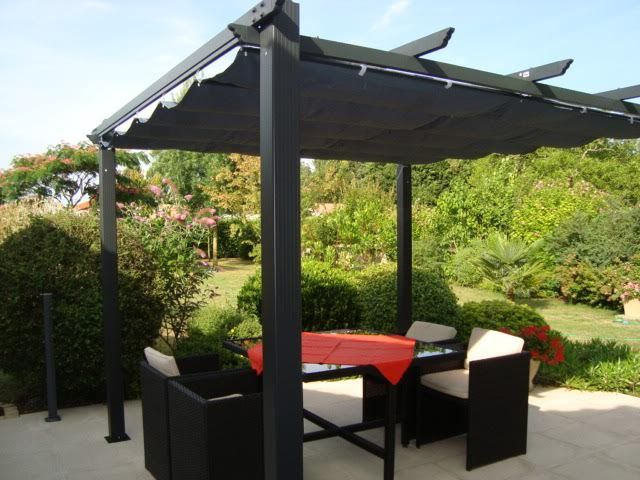 condate pergola en aluminium avec toile r tractable structure en aluminium toilde de toit. Black Bedroom Furniture Sets. Home Design Ideas
