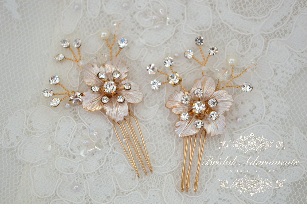 Ornate crystal flowers and sparkling leaves twist across the top of this precious golden hair comb. It is very elegant and has lots of beautiful sparkle. Very light in weight and comfortable to wear. Handmade with love in our Bridal Adornments studio.