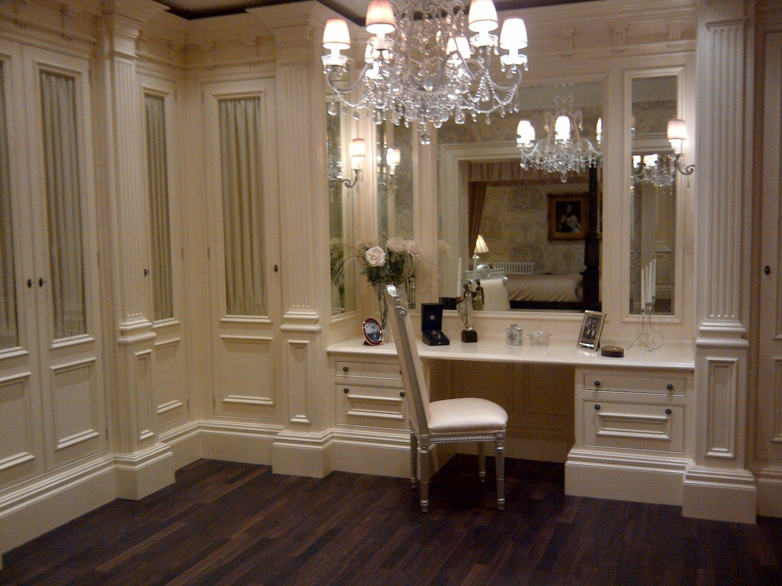 Clive Christian Kitchens Showrooms Glass Fronted Robes With Clive Christian Monogram Silk