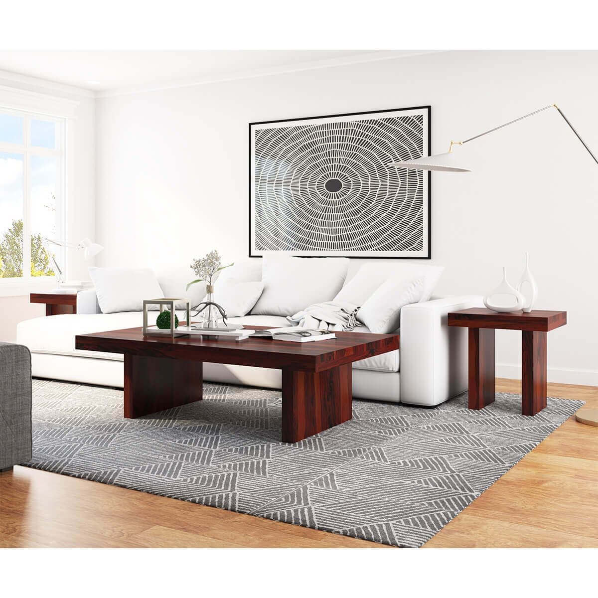 Contemporary Rustic Wood 3 Piece Large Coffee Table And End Table Set Coffee Table Large Coffee Tables Rustic Contemporary [ 1200 x 1200 Pixel ]
