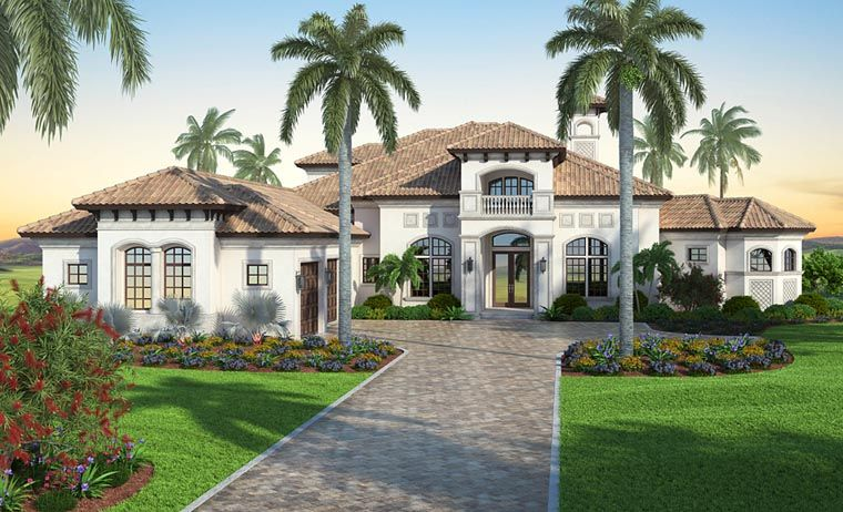 . Mediterranean Style House Plan Number 52915 with 7 Bed  6 Bath  3