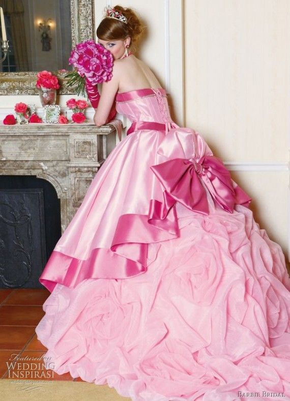 Pink wedding dress for the modern girl.