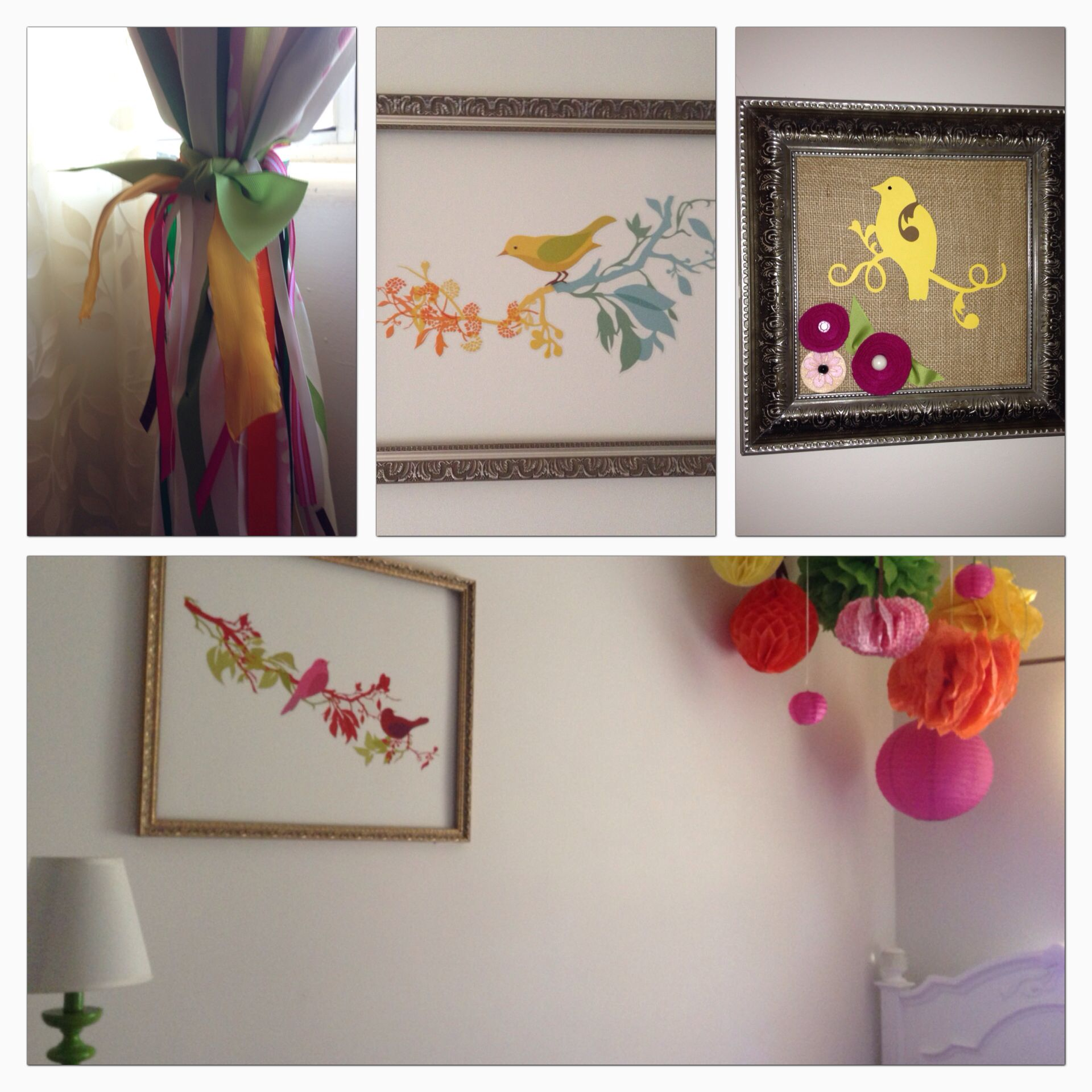 Wall Decals Framed With Pretty Frames, Tissue Paper Balls Hung