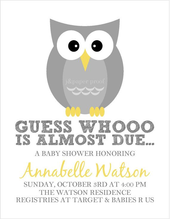 Owl Baby Shower Invitations Grey  Yellow Printable by jandpaper