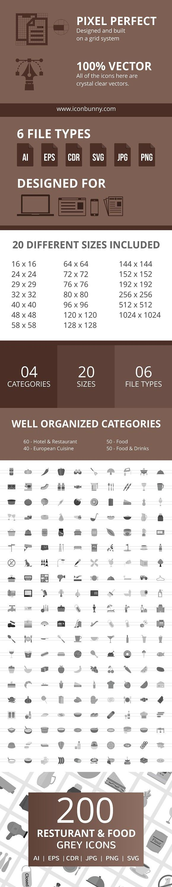 200 Restaurant & Food Grey Icons shapes, Icon