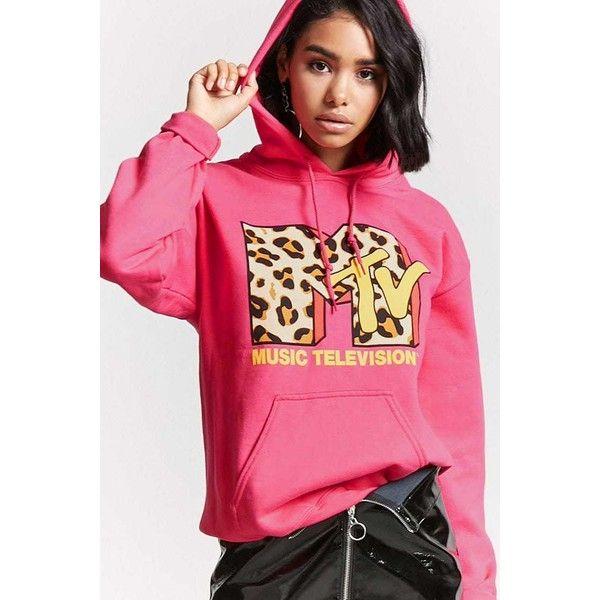 Forever21 MTV Graphic Hoodie ($28) ❤ liked on Polyvore featuring tops,  hoodies, hot pink, hot pink hoodie, leopard hoodie, long sleeve hoodie, ...