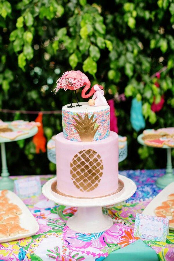 Great Lilly Pulitzer Baby Shower, Baby Shower Cake, Flamingo, Stork, Pineapple  Cake,