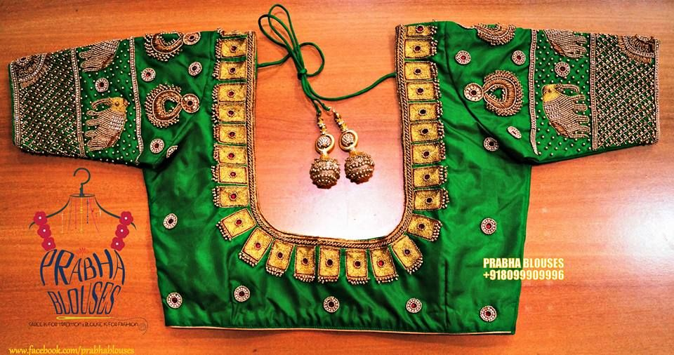 49275332e26e1f Beautiful parrot green color designer blouse with elephant design hand  embroidery wirk on sleeves.