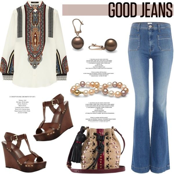 Get the Look: High-Waisted Jeans by pearlparadise on Polyvore featuring mode, Etro, Hudson Jeans, Carvela Kurt Geiger, Tamara Mellon, summerstyle, highwaistedjeans, contestentry, pearljewelry and pearlparadise