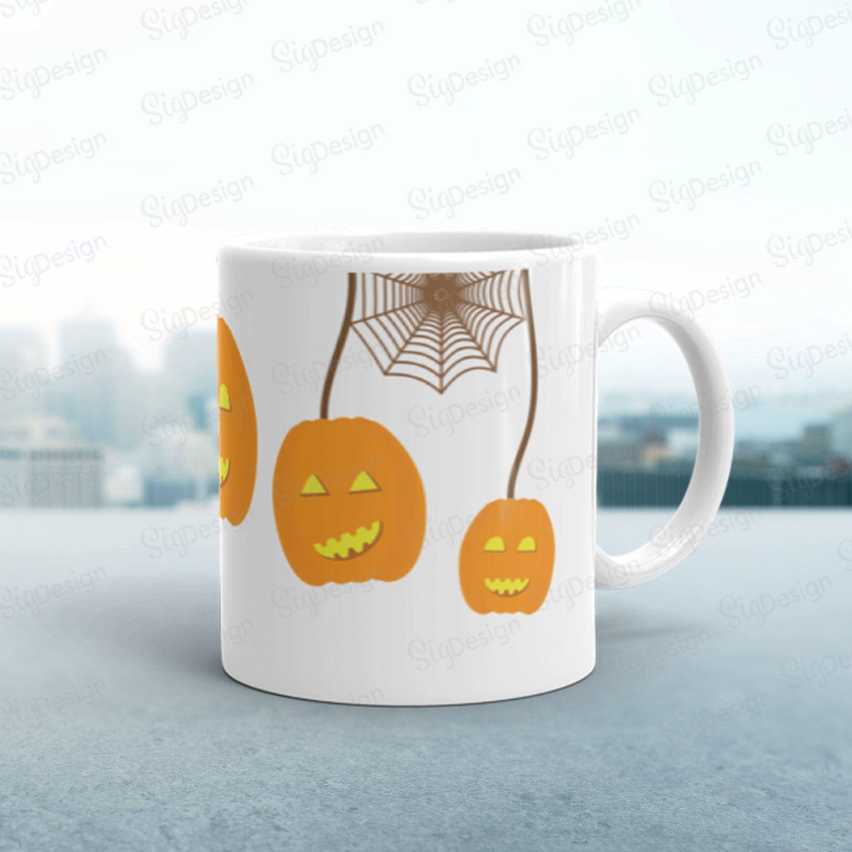 Halloween Pumpkin Coffee Mug, Orange Pumpkins and Spider ...