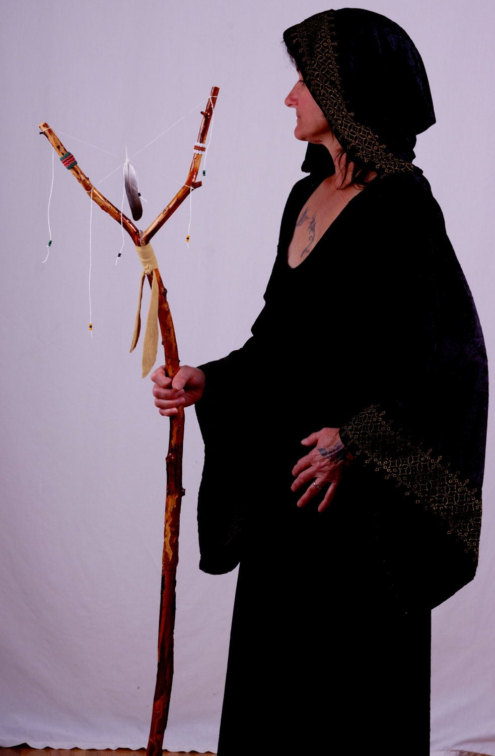 Walking stick/staff, wizard/witches stang, beaded stang by ShortShaman on Etsy