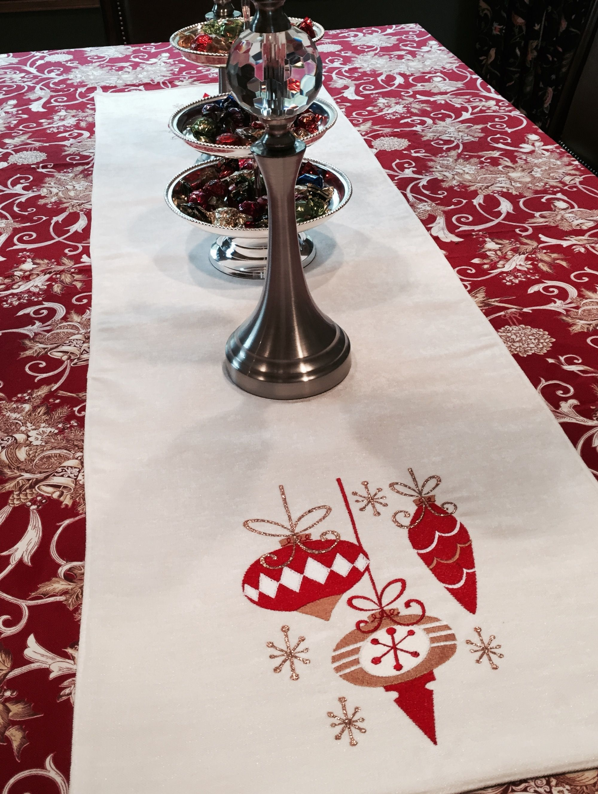 Machine Embroidered Christmas Table Runner In 2020 Christmas Table Runner Christmas Runner Christmas Embroidery