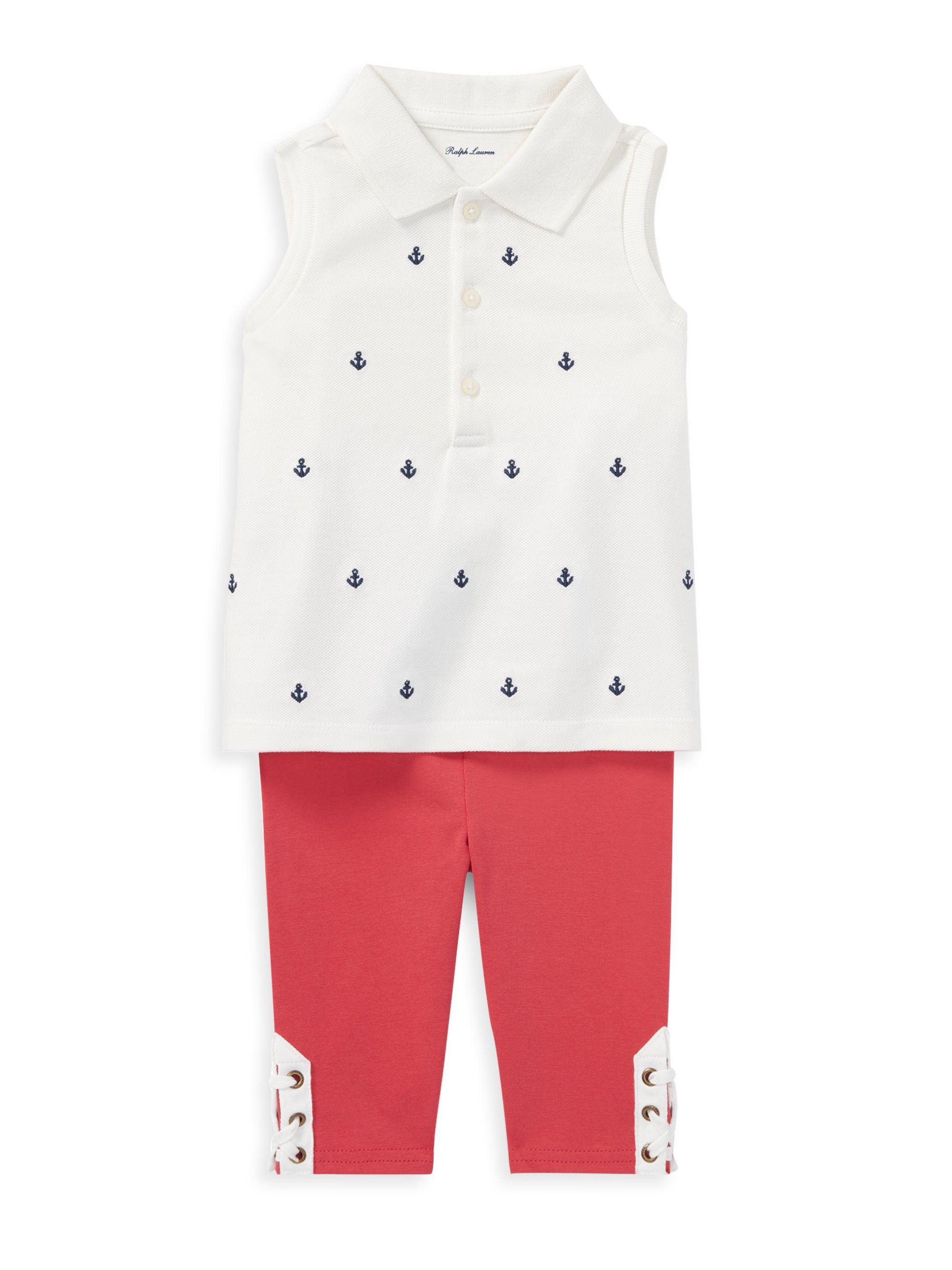 24c170fd1200d Ralph Lauren Baby Girl s Two-Piece Sleeveless Cotton Polo And Leggings Set  - White 24 Months