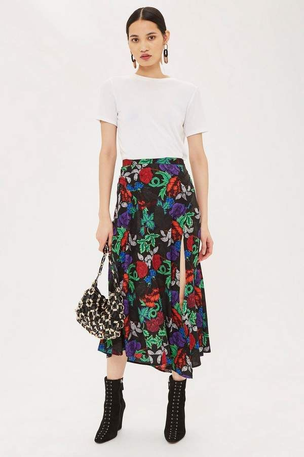 00bfc40f18 Raven Floral Midi Skirt | Products | Midi skirt, Black midi skirt ...