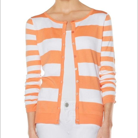 Orange and White Striped Shirred-Sleeve Cardigan | D, Sweater ...