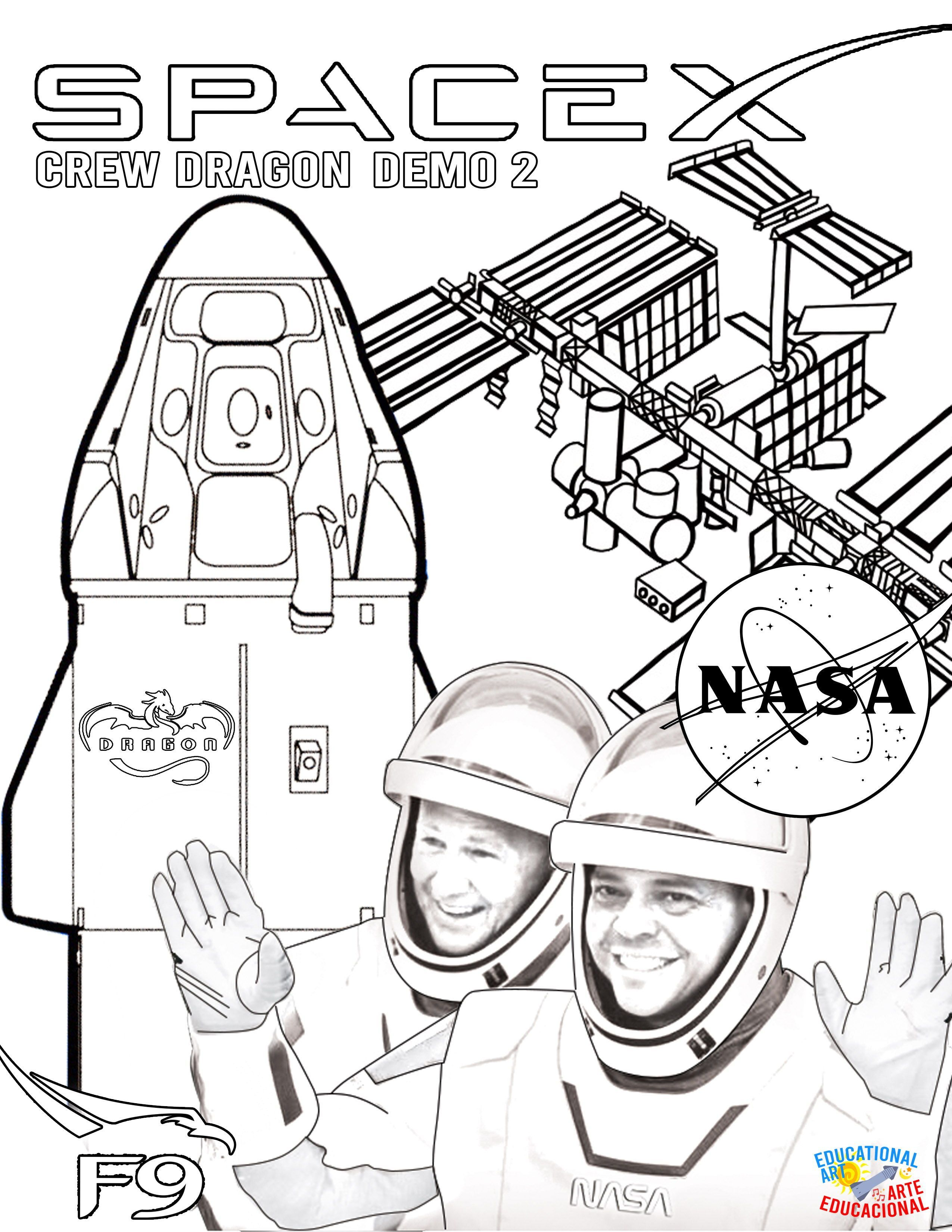 Coloring Page Crew Dragon Demo 2 Lauch Approach And Docking Highlights I Love Pura Vida Coloring Pages International Space Station Dragon
