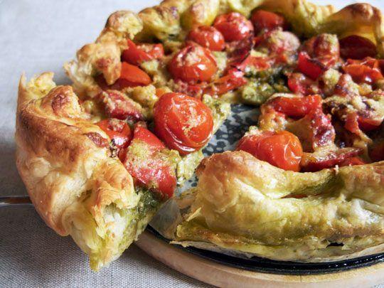Photo of Rustic Pesto Tomato Tart