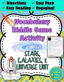 Astronomy Vocabulary Riddle Challenge Game | Astronomy: Stars