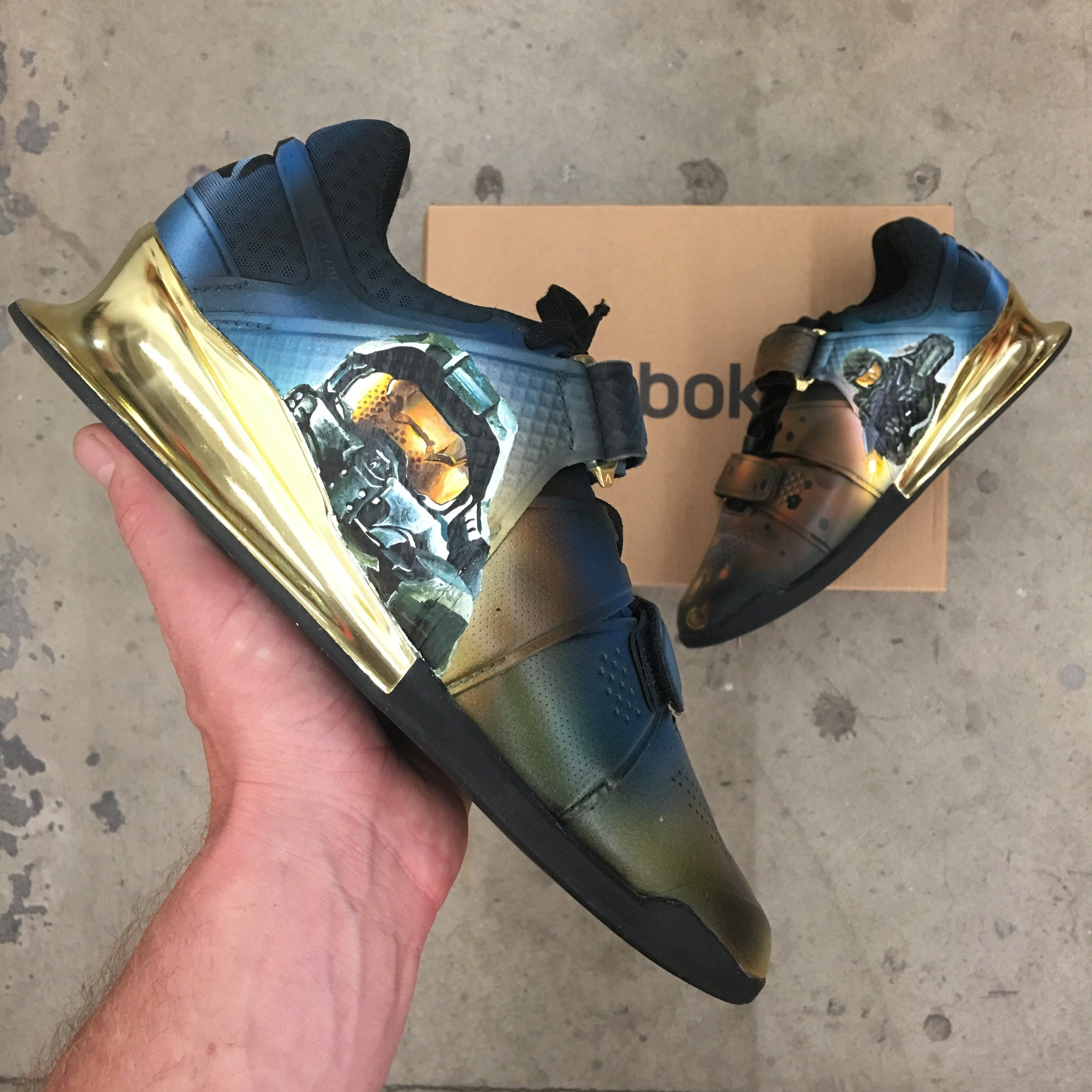 These are Reebok Legacy Lifters that have been custom painted with the  Master Chief from the explosively popular game 596e047d3