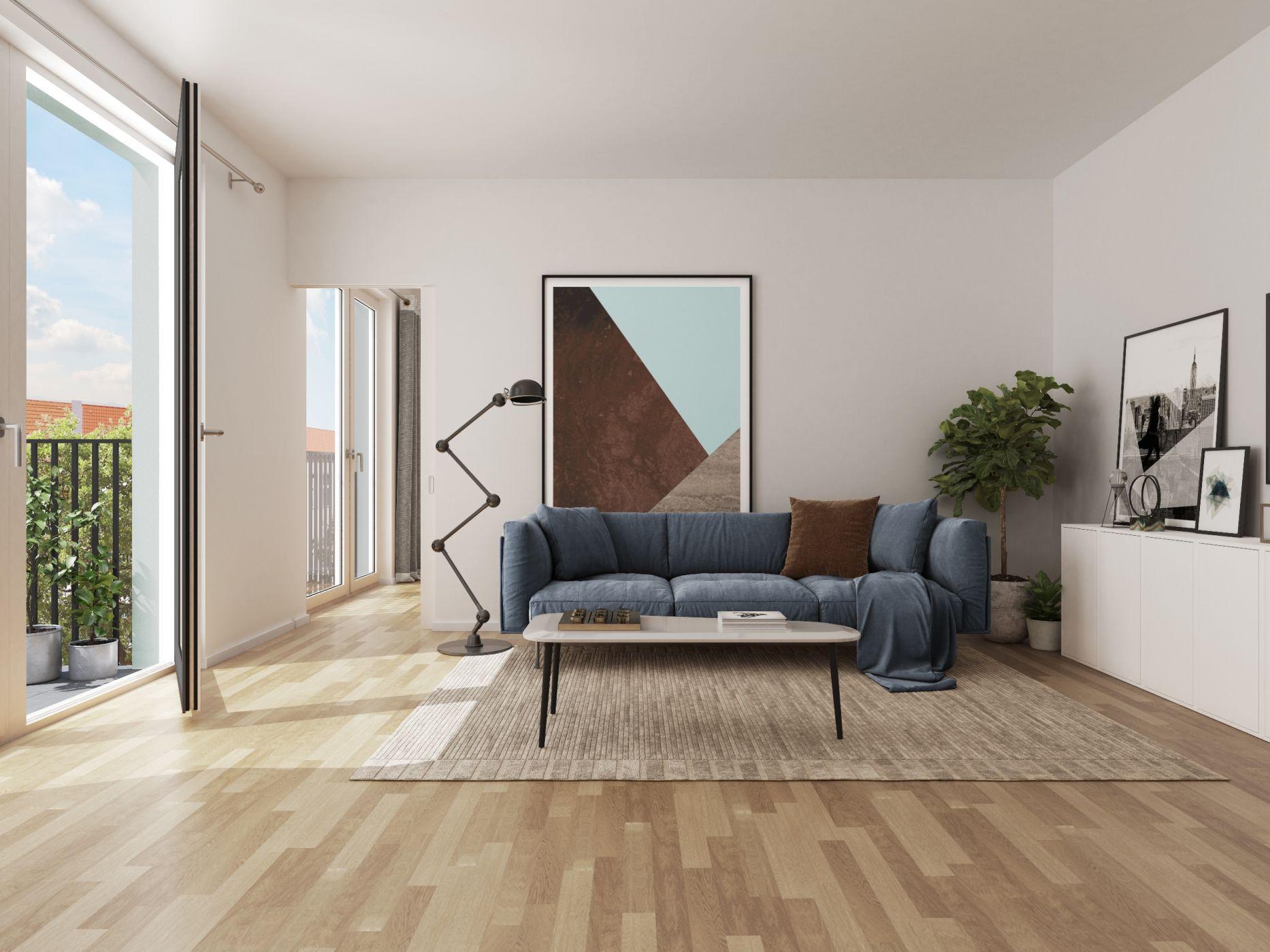 Modernes Wohnzimmer, Wohnraum, Gestaltung Wohnzimmer, blaues Sofa