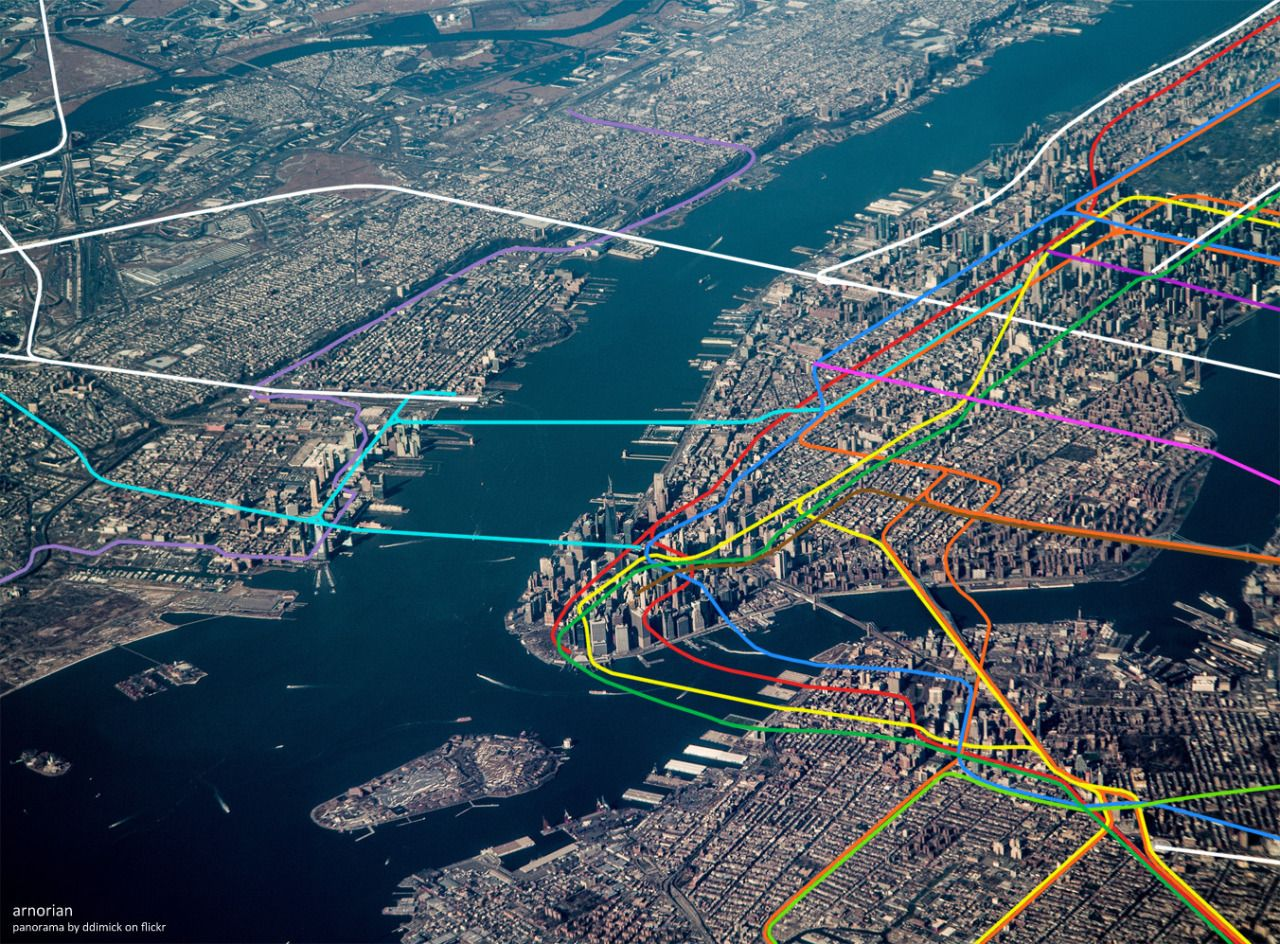 submission aerial photo of new york city with rail lines superimposed fantastic work from transit maps reader arnorian showing the new york subway