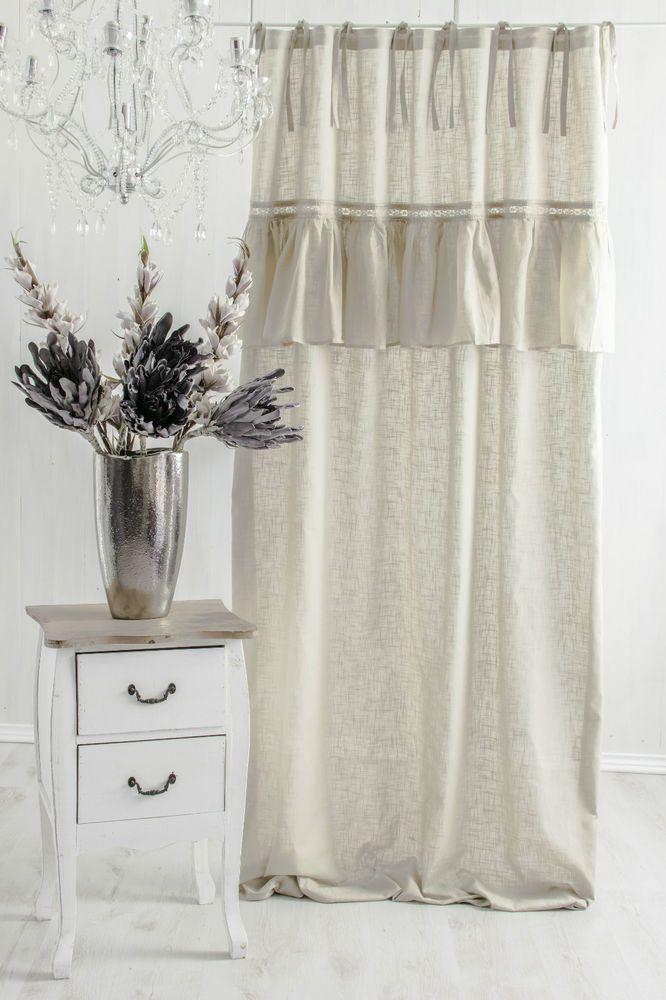 sofia vorhang gardine 140x240cm volant spitze cappuccino franske landhaus shabby heimtextilien. Black Bedroom Furniture Sets. Home Design Ideas