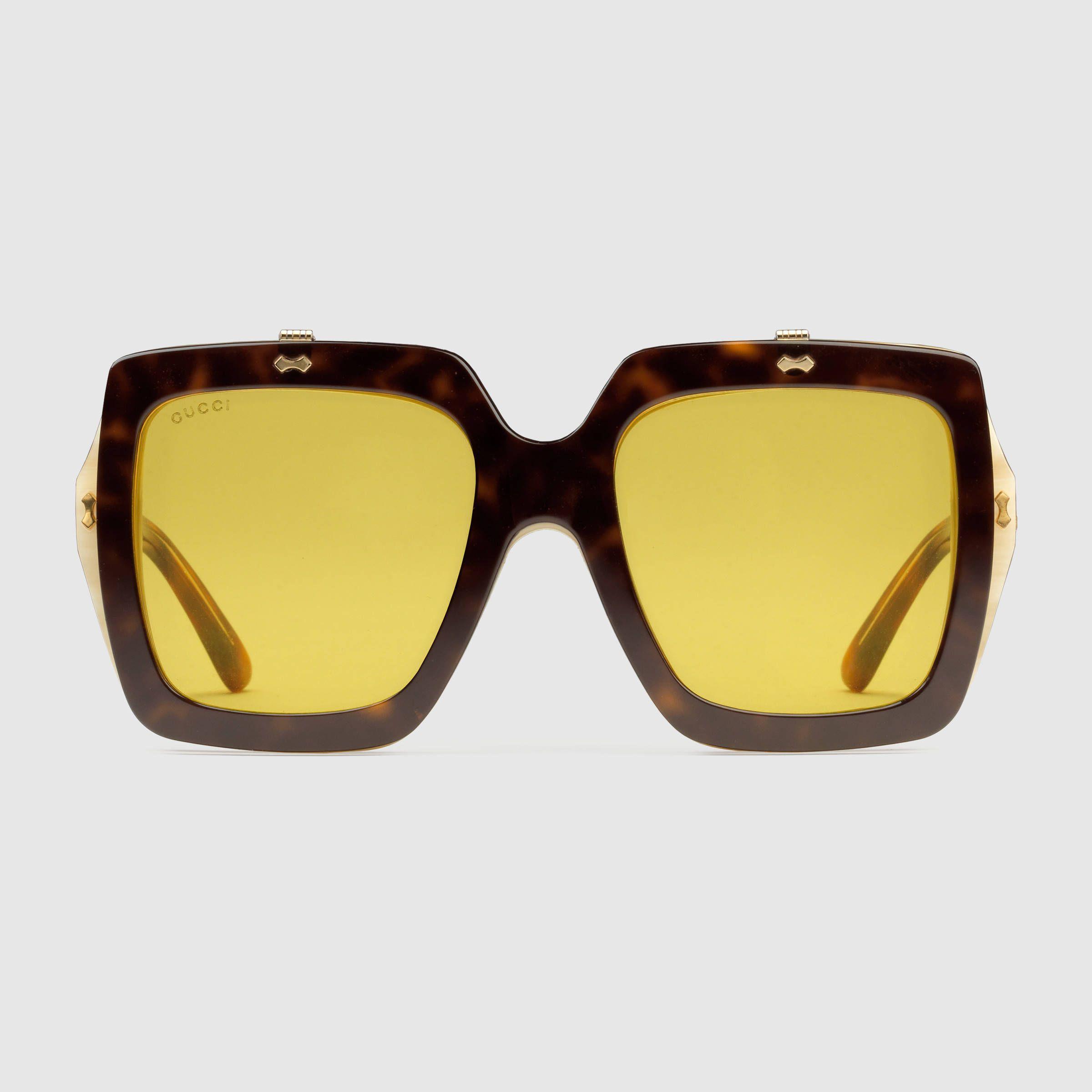 713c547e1be78 Oversize square-frame acetate sunglasses - dark tortoiseshell acetate by  Gucci
