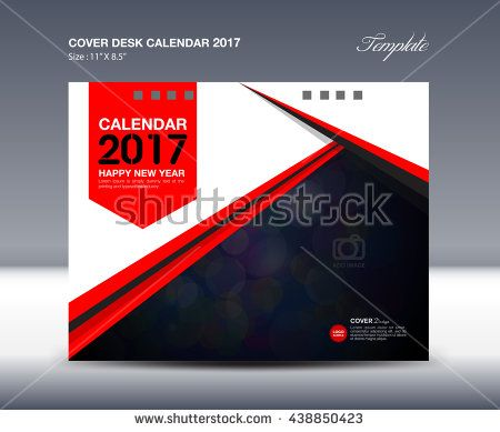 Red Cover Desk Calendar 2017 Design Template polygon vector, cover - advertisement brochure