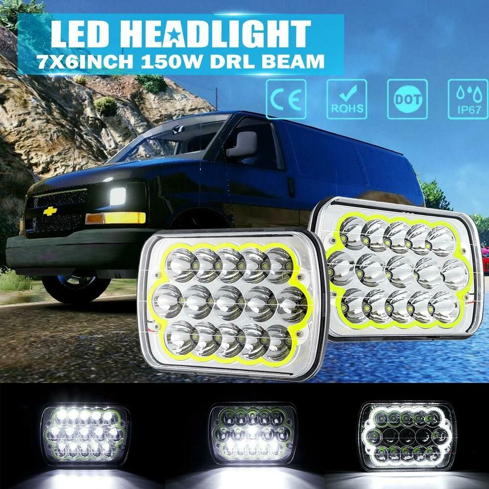Sponsored Ebay Pair 7x6 5x7 150w Led Headlight Hi Lo Drl Dot