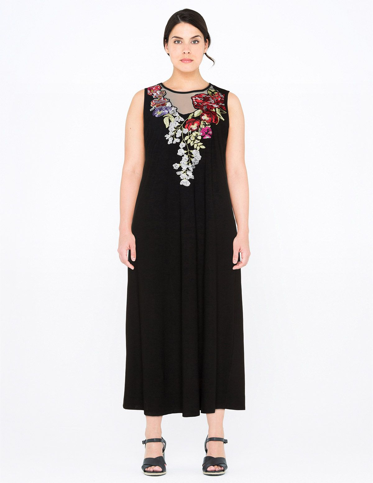Cn g embroidered jersey maxi dress in black multicolour boho