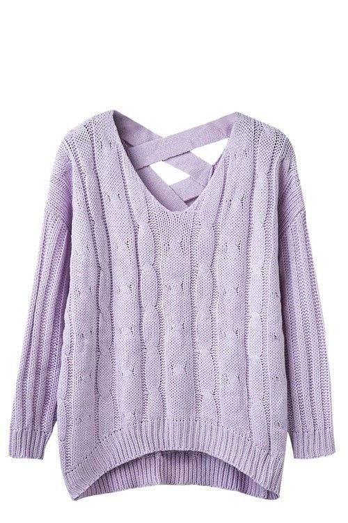 f44d70137715f4 Women's Fashion Pullover Cable Knit Long-Sleeve Loose Casual Criss-Cross  Back Sweater One Size 4 Colors