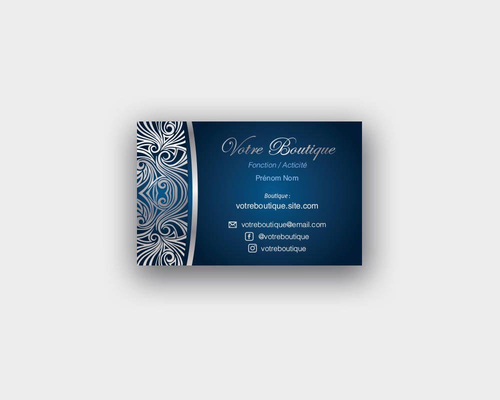 Carte De Visite Luxe Bleu Et Argent Carte De Visite Carte Argent