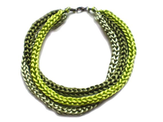Handmade triple french knitted spool knitting necklace made of satin cord in green shades FREE SHIPPING WORLDWIDE