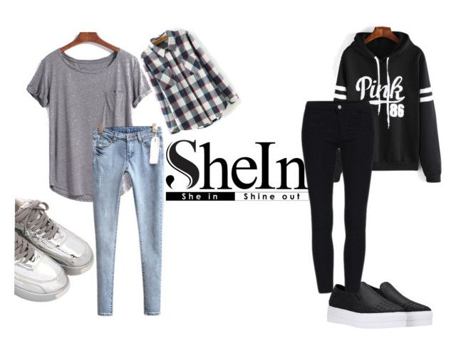 """2 Looks w/SheIn"" by strange-girl-online ❤ liked on Polyvore featuring women's clothing, women's fashion, women, female, woman, misses and juniors"