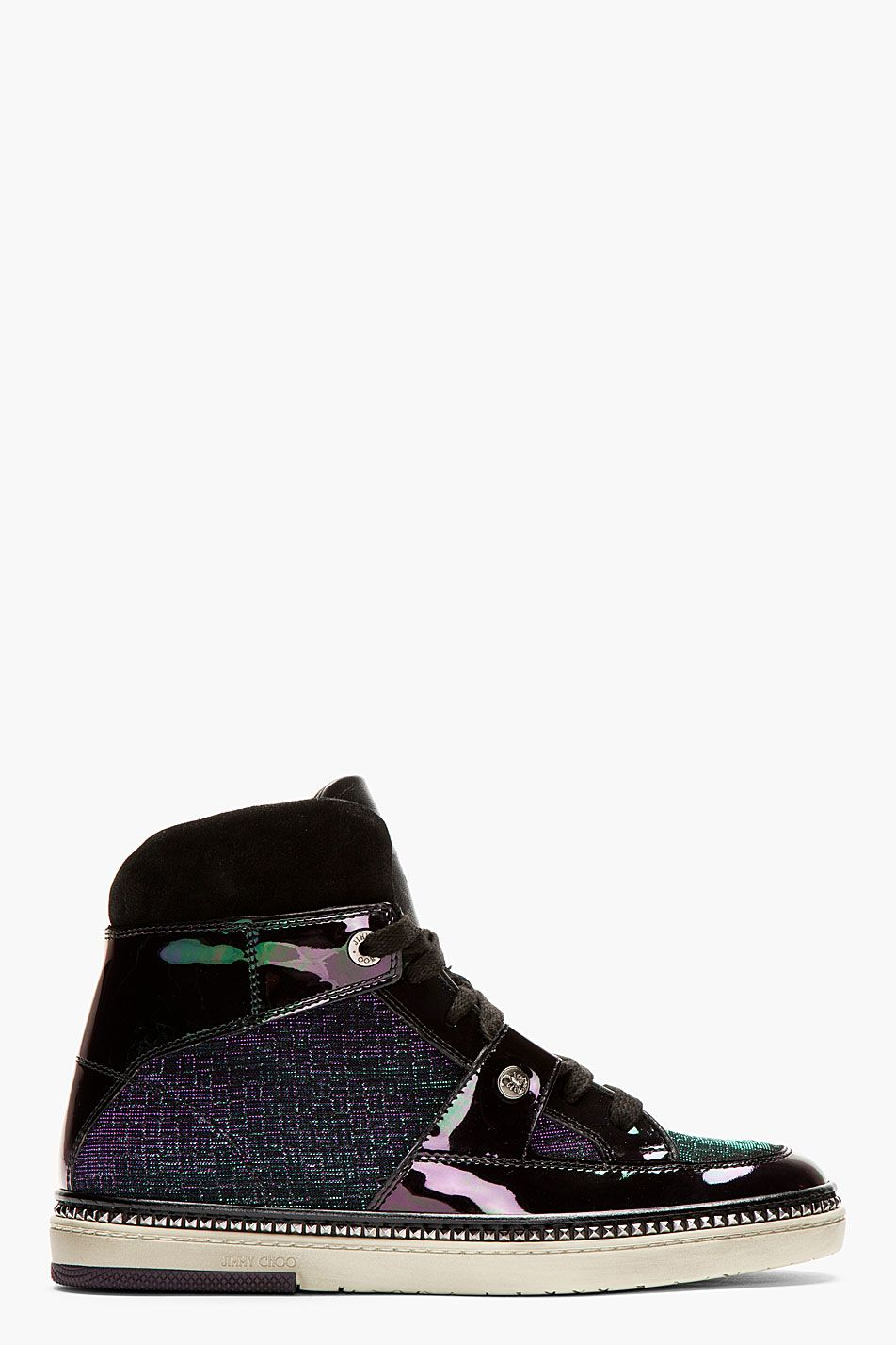 30eda90834c73a Jimmy Choo Black Iridescent Petrol Mix Barlowe High top Sneakers ...