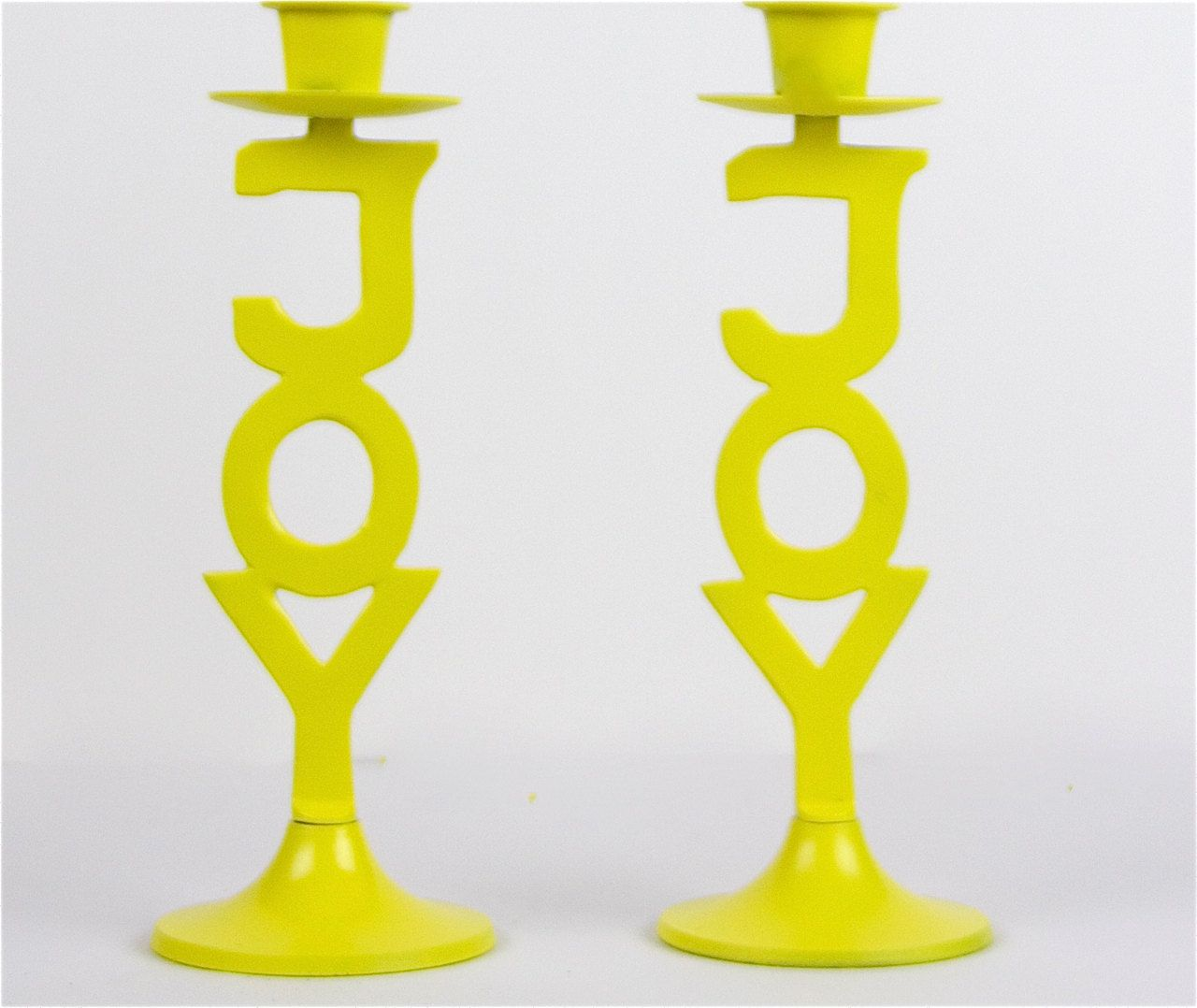 Yellow joy candle holders funky christmas decor set of
