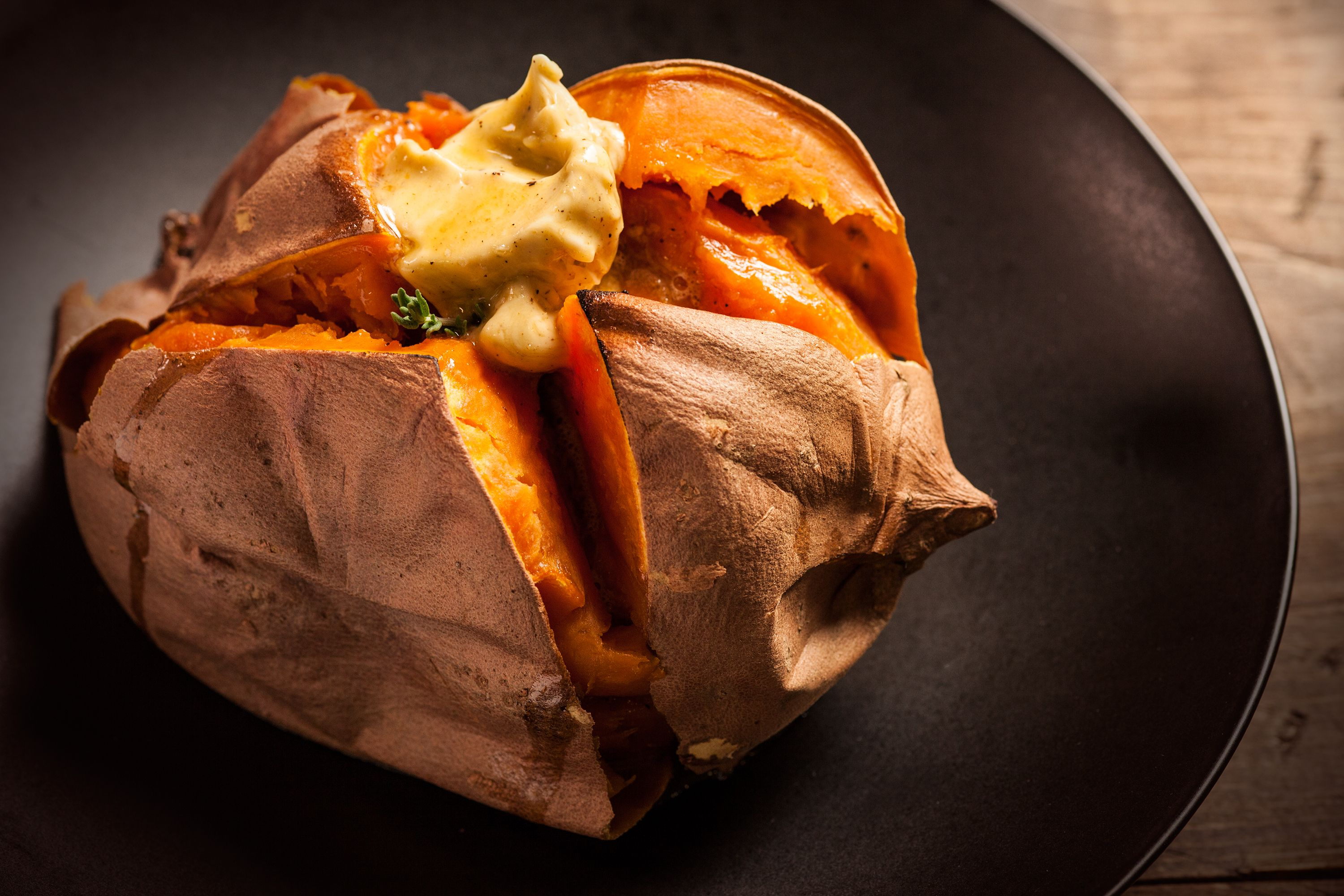 Baked Sweet Potato with MolassesClove Butter Recipe