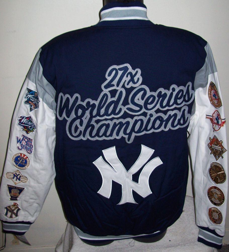 New York Yankees 27 Time World Series Championship Jacket Sewn Logos