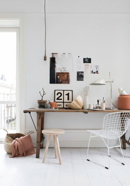 Eclectic Office Decor With White Walls And Floor Via Stil Inspiration /  /sfgirlbybay/