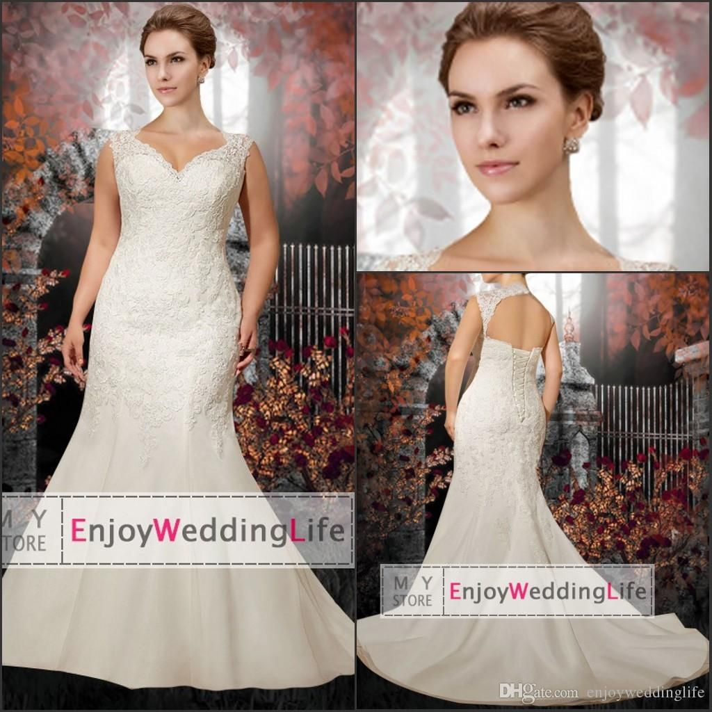 Plus Size Mermaid Lace Wedding Dresses 2015 Cap Sleeves Organza Applique Bridal Gowns With Lace Up, $156.03 | DHgate.com