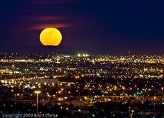 Full moon over El Paso, Texas