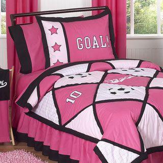 Sweet Jojo Designs Girls Pink Soccer 3 piece Full Queen Comforter