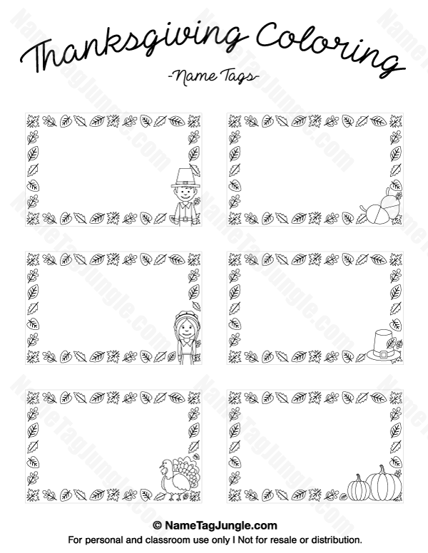 Free Printable Thanksgiving Coloring Name Tags The Template Can Also Be Used For Creating Items Like Lab Thanksgiving Printables Name Tags Printable Name Tags