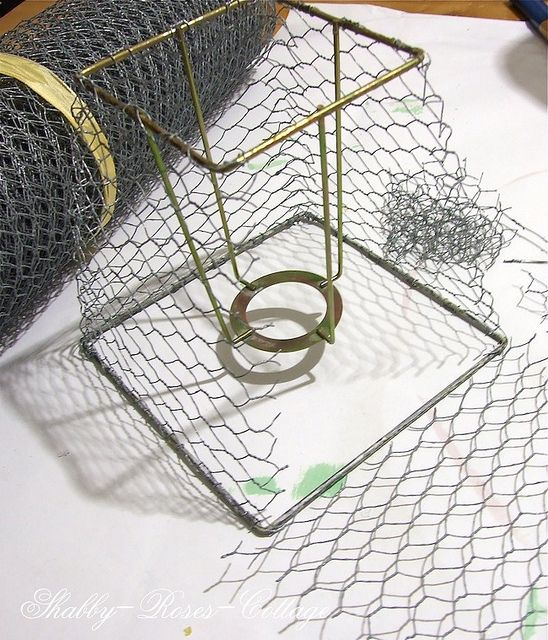 Chicken Wire By Shabbyrosescottage Via Flickr Wire Lampshade Chicken Wire Crafts Chicken Wire