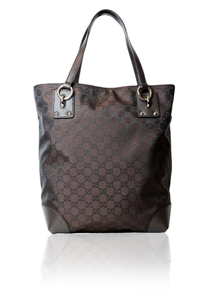 39b9635c034f Gucci Brown Monogram Tote Bag $675.00 http://www.boutiqueon57.com/