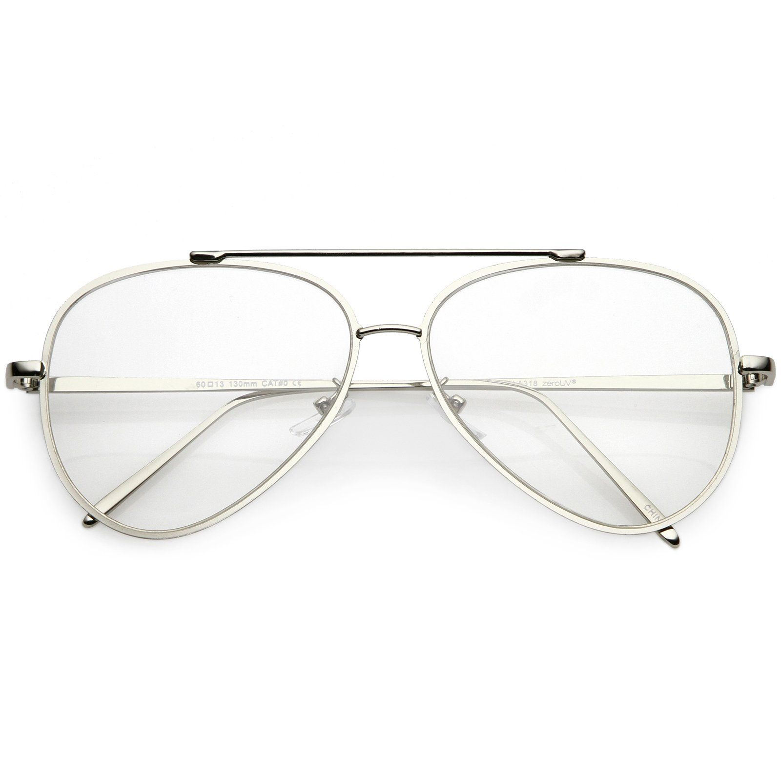 4d501cf981 Mod Fashion Metal Aviator Eyeglasses Teardrop Rimless Clear Flat Lens 58mm