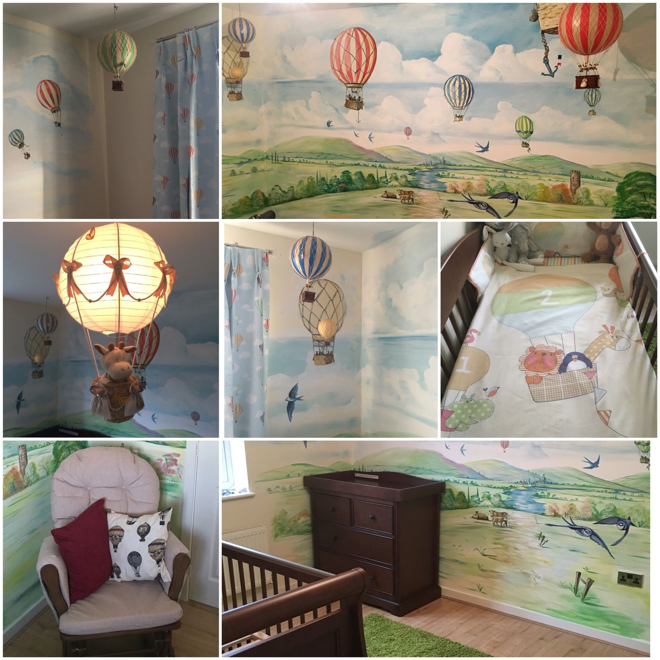 Hot air balloon themed nursery finished! Childrens