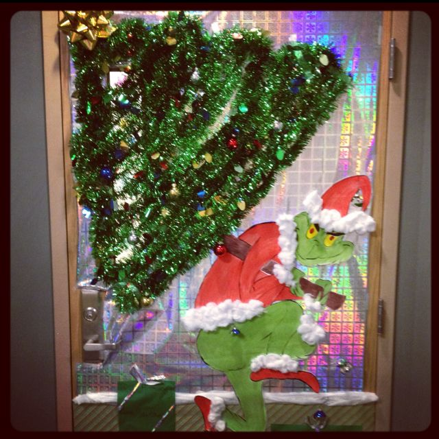 Door Decorations Christmas Contest: Deck The Doors...Holiday Contest, 1st Place. The Grinch